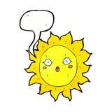 Cartoon sun with speech bubble Royalty Free Stock Photography