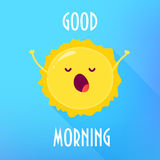 Cartoon sun stretches and yawns. Good Morning card. Flat style. Vector illustration Royalty Free Stock Photo