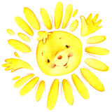 Cartoon sun and the sun's rays watercolor illustration. For kid background Royalty Free Stock Photo
