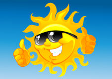 Cartoon sun in sunglasses Royalty Free Stock Images