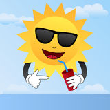 Cartoon Sun with Sunglasses. A cool cartoon sun character with sunglasses drinking in a hot and summer scene. Eps file available Stock Photos