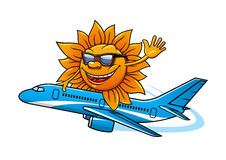 Cartoon sun in sunglasses flying on airplane Royalty Free Stock Photos