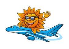 Cartoon sun in sunglasses flying on airplane Royalty Free Stock Photos