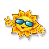 Cartoon sun in sunglasses showing victory sign with fingers Stock Photos