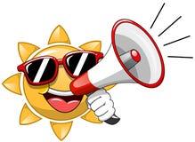 Cartoon Sun sunglasses speaking megaphone Stock Photo