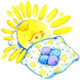 Cartoon sun sunset watercolor illustration Royalty Free Stock Photography