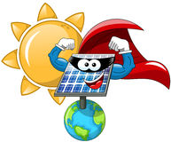 Cartoon Sun superhero solar panel Stock Photos