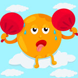 Cartoon sun sweating Stock Images