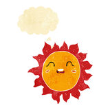 Cartoon sun with thought bubble Royalty Free Stock Photo
