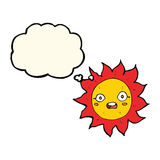 Cartoon sun with thought bubble Royalty Free Stock Photos
