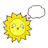 Cartoon sun with thought bubble Royalty Free Stock Images
