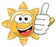 Cartoon sun thumb up stock illustration