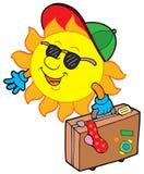 Cartoon sun traveller. Vector illustration royalty free illustration