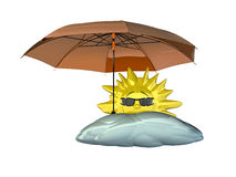 Cartoon sun with umbrella royalty free illustration