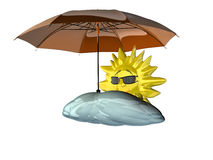 Cartoon sun with umbrella stock illustration