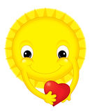 Cartoon sun on valentine - isolated Royalty Free Stock Photography