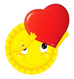 Cartoon sun on valentine - isolated Stock Images