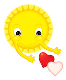 Cartoon sun on valentine - isolated Royalty Free Stock Photo