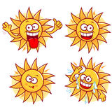 Cartoon sun vector set Royalty Free Stock Photos