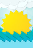 Cartoon sun in the waves Royalty Free Stock Images