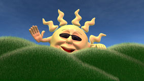 Cartoon sun waving by field Stock Image