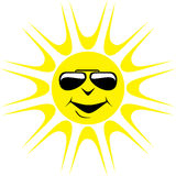 Cartoon Sun Wearing Dark Glasses Royalty Free Stock Photo