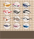 Cartoon sunglasses/glasses card Stock Photos
