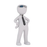 Cartoon in Sunglasses and Tie with Hands on Hips Royalty Free Stock Photography