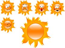 Cartoon suns Stock Image