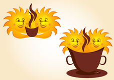 Cartoon suns and cup of coffee Royalty Free Stock Image