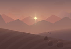 Cartoon sunset Mountain Landscape Background with trees and fields. Royalty Free Stock Image
