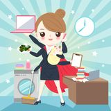 Cartoon super business woman. On the blue background royalty free illustration