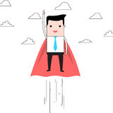 Cartoon super businessman flying in clouds Stock Photo