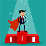 Cartoon super businessman. Winner in black suit and red cape standing on first place on a podium. vector illustration in flat design on green background Royalty Free Stock Photography