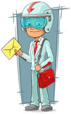 Cartoon super delivery boy with red bag Stock Image