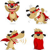Cartoon Super dog set 2. Superhero dog in super hero puppy situations like, super hero dog running, fighting, superhero breath and with red garment vector stock illustration