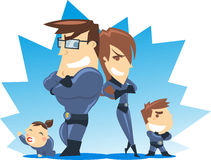 Cartoon super family. Successful Superhero family posing for their fans, with blue costumes vector illustrations Royalty Free Stock Image