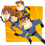 Cartoon super family. Superhero family running to the rescue. Four members heroes family, with blue suits vector illustration Royalty Free Stock Photo