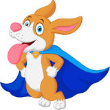 Cartoon Super Hero Dog Flying Stock Photography