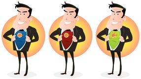 Cartoon Super Hero Double Identity Set Royalty Free Stock Photo