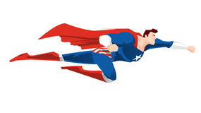 Cartoon Super hero flying. Superhero flying ready to work with red cape and boots, and a blue super hero garment  illustration. Star shape on its chest Royalty Free Stock Photos