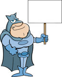 Cartoon super hero holding a sign. Royalty Free Stock Photography
