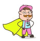 Cartoon Super-Hero Seller Person Costume and Happy Face Royalty Free Stock Photos