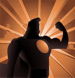 Cartoon Super hero streght backlight. Superhero Shadow Shining Silhouette  illustration, with strong arm and shown power Royalty Free Stock Photos