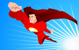 Cartoon Super hero to the rescue. Superhero ready to save the world using his powers, with red superhero costume and red hero cape, with striped light blue Royalty Free Stock Images