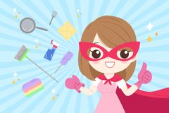 Cartoon super housewife. On the blue background Royalty Free Stock Image