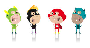 Cartoon Super Kids !. Illustration of funny cartoon band of superhero kids during carnival or halloween vector illustration