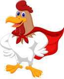 Cartoon super rooster posing Stock Photography