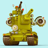 Cartoon Super Tank. 3D Illustration. Cartoon Super Tank. Science Fiction Military Equipment. 3D Illustration. Blue Background Stock Photos