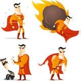 Cartoon superhero action set 2 Royalty Free Stock Photos